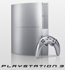 A silver PlayStation 3 pictured with its prototype controller